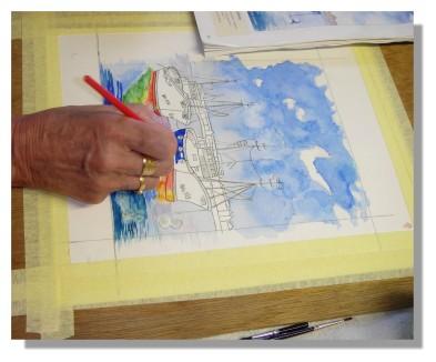 Atelier Taiccap' Aquarelle Simone Mouillage à St J de L. 5