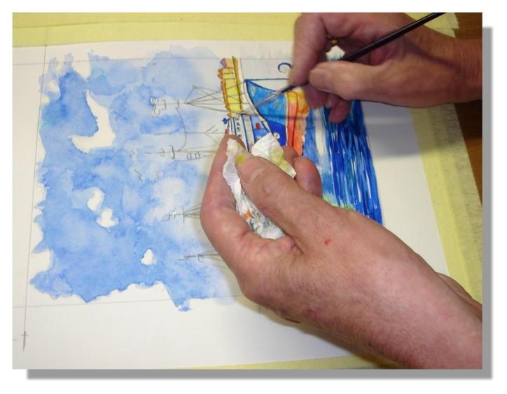 Atelier Taiccap' Aquarelle Simone Mouillage à St J de L. 6