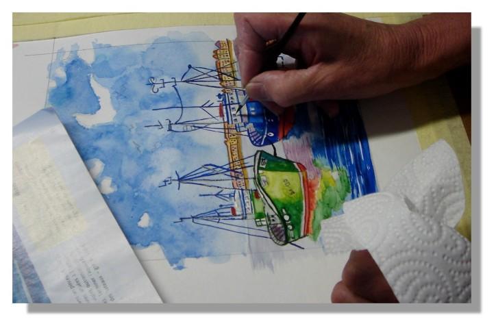 Atelier Taiccap' Aquarelle Simone Mouillage à St J de L. 7