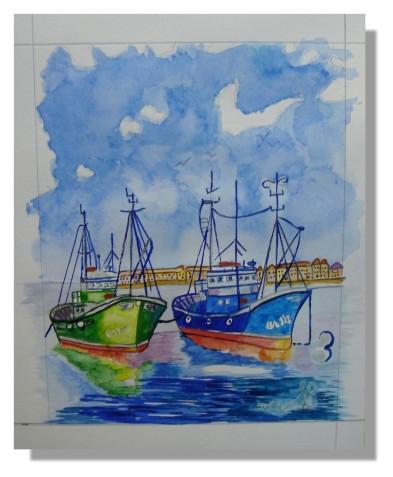 Atelier Taiccap' Aquarelle Simone Mouillage à St J de L. 8