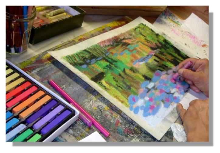 Atelier Taiccap' Pastel Rose-Marie Reflets sur l'étang de Giverny 5