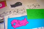 Milena Dessin et collage Les chats 2
