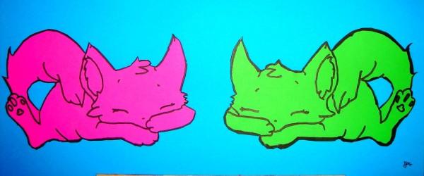 Milena Dessin et collage Les chats 4