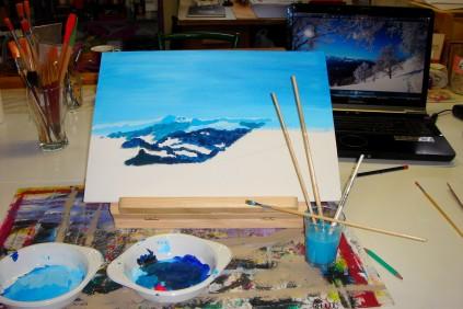 Rose-Marie Acrylique Paysage de montagne 3