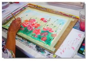 Rose-Marie Aquarelle Coquelicots 8