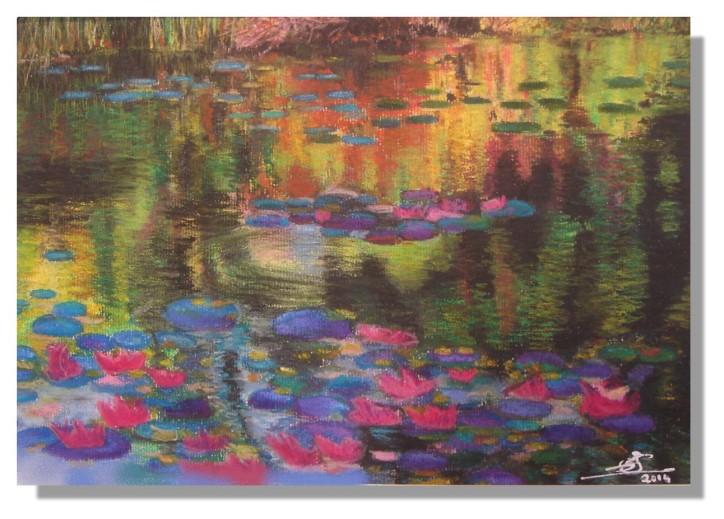 Isabelle SCHMITZ Etang de Giverny 2 Pastels avec Rose-Marie 06.2014