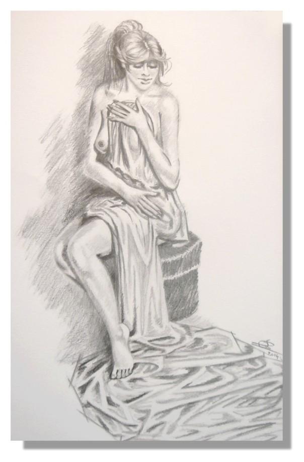 Isabelle SCHMITZ Nu drapé Dessin aux crayons avec Rose-Marie 12.2014