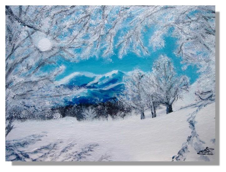 Isabelle SCHMITZ Paysage de montagne Acrylique avec Rose-Marie 04.2014