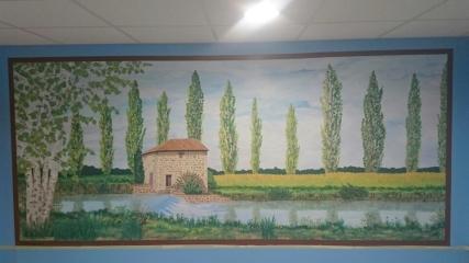 """Isabelle SCHMITZ, Atelier Taiccap',Fresque """"Baïse"""", acrylique, 3,40 x 1,50 m (5 m2), au funérarium de Trie sur Baïse"""